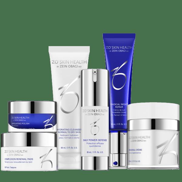 Produktbild eines ZO Skin Health Programms mit folgenden 6 Produkten: Hydrating Cleanser, Exfoliating Polish, Complexion Renewal Pads, Daily Power Defense, Renewal Crème und Radical Night Repair