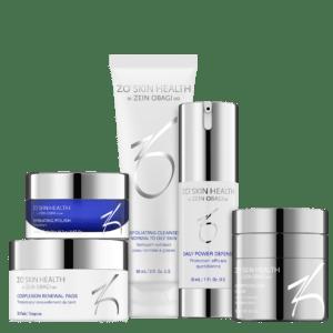 Produktbild eines ZO Skin Health Pflege-Programms mit folgenden 5 Produkten: Exfoliating Cleanser, Exfoliating Polish, Complexion Renewal, Daily Power Defense und Growth Factor Serum