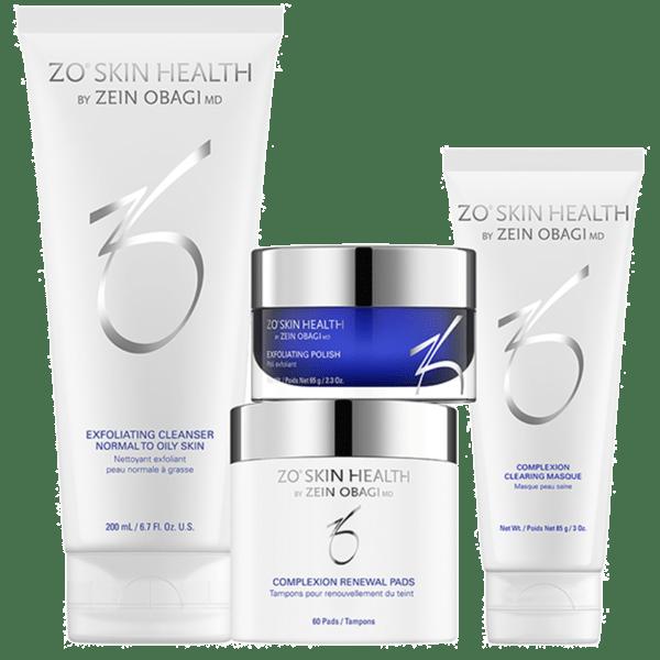 Produktbild des ZO Skin Health Complexion Clearing Program mit folgenden 4 Produkten: Exfoliating Cleanser, Exfoliating Polish, Complexion Renewal Pads, Complexion Clearing Masque