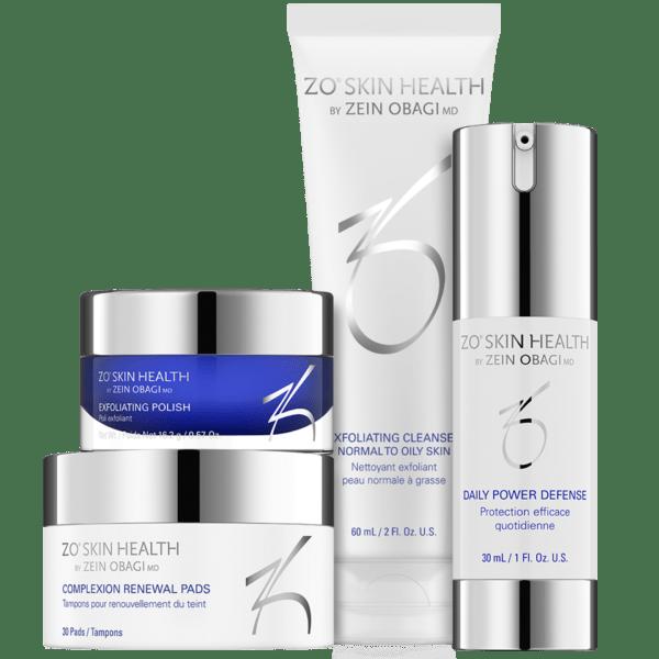 Produktbild des ZO Skin Health Daily Skin Care Programs mit folgenden 4 Produkten: Exfoliating Cleanser, Complexion Renewal Pads, Exfoliating Polish und Daily Power Defense