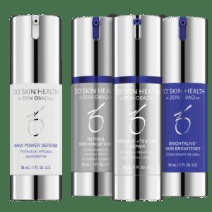 Produktbild des ZO Skin Health Skin Brightening Program + Texture Kit mit folgenden 4 Produkten: Daily Power Defense, Retinol Skin Brightener, Wrinkle + Texture Repair und Brightalive