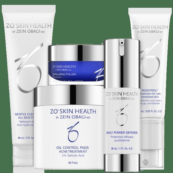 Produktbild des ZO Skin Health Normalizing Systems mit folgenden 5 Produkten: Gentle Cleanser, Exfoliating Polish, Oil Control Pads, Daily Power Defense und Rozatrol