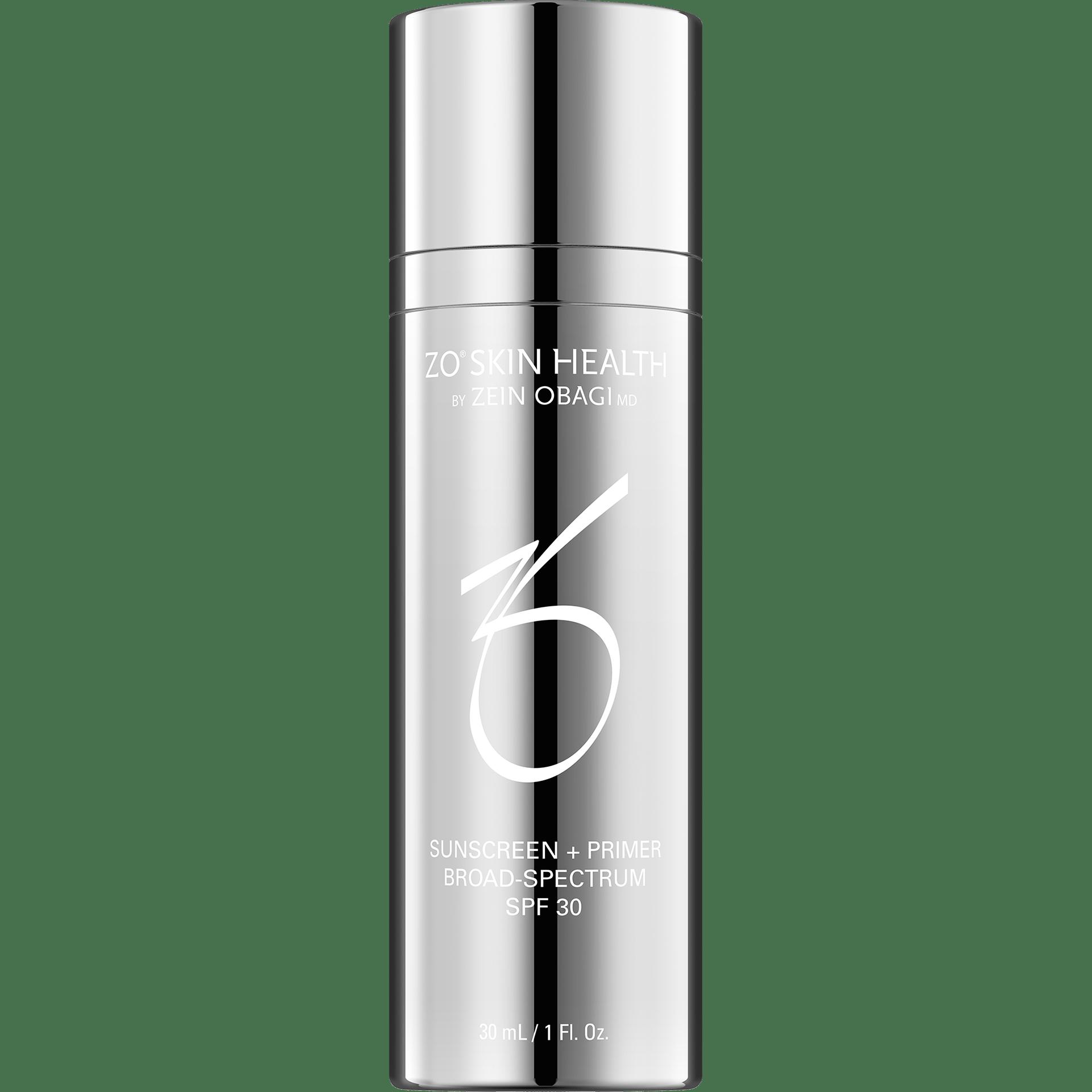 Produktbild eines Pumpspenders mit ZO Skin Health Sunscreen + Primer